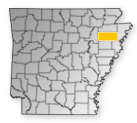Map showing Poinsett County location within the state of Arkansas